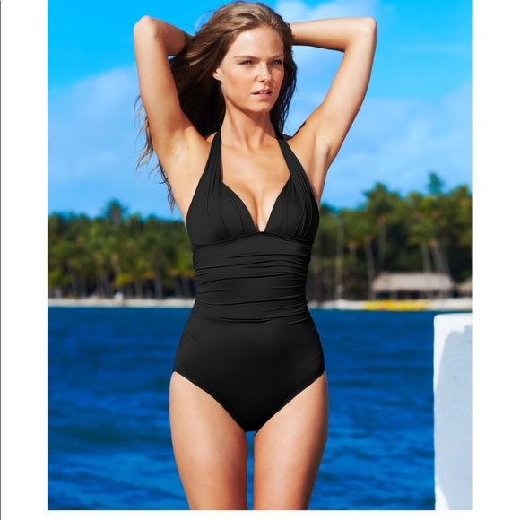 ee90aa6fa2f3b Dkny Swim | Black Halter Ruched Maillot Onepiece | Poshmark